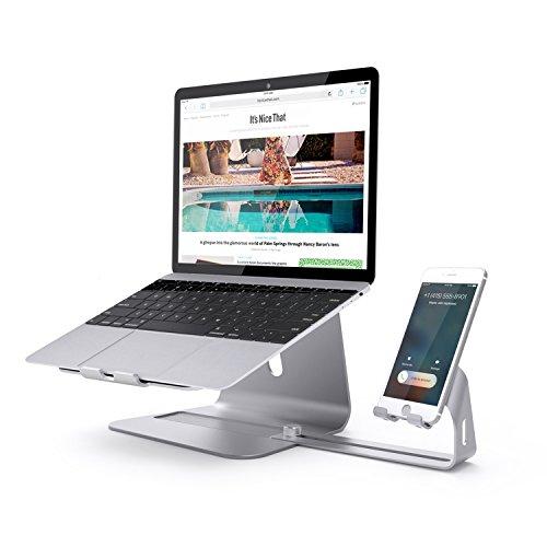 Supporto per notebook,Premium ottimo supporto in alluminio per notebook e supporto regolabile per smartphone il magnesio-alluminio per tutti i notebook e smartphone (Argento)
