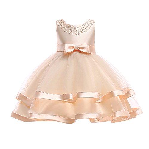 WUSIKY Sommerkleid Kinder Baby Mädchen Bowknot Perle Prinzessin Sleeveless Formelle Kleidung Dresss Minirock Tutu Hoop Rock Tüll Unterrock Kinder Geschenk 2019 Neues Kleid(110,Gelb)
