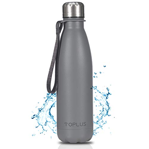 TOPLUS Botella de Agua Acero Inoxidable 304 Termo - 500ml, Termo Sin BPA Ecológica Reutilizable, Botella Termica con Pajita y Filtro para Niños & Adultos, Deporte