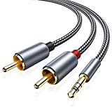 2 Pack RCA Cable, Oldboytech 3.5mm Male to 2RCA Adapter Audio Cable [6 Feet, Hi-Fi Sound] Nylon-Braided AUX Y...