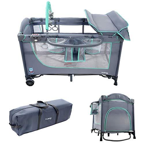KINDEREO Comfort Plus Babybett Wickelauflage Laufstal Reisebett Kinderreisebett Kinderbett Klappbett für Kinder und Babys mit Zubehören (Grau-Minze)