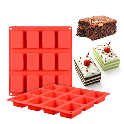 Yawooya Brownie Pan Silicone- 2Pack Non-stick Brownie Molds 3.3inch for Soap/Bread/Loaf/Muffin/Cornbread/Cheesecake/Pudding