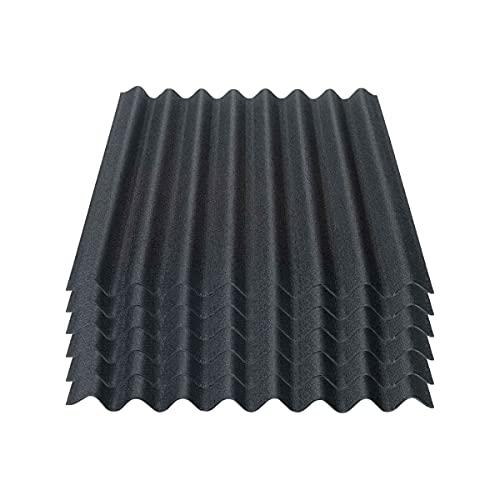 Onduline Easyline Dachplatte Wandplatte Bitumenwellplatten Wellplatte 6x0,76m² - schwarz
