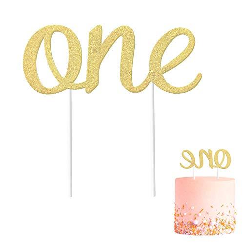 Verjaardagsdecoratie voor de eerste verjaardag, dubbelzijdig, glinsterend, taartdecoratie voor meisjes en jongens, voor de eerste verjaardag van paren en bruiloften.