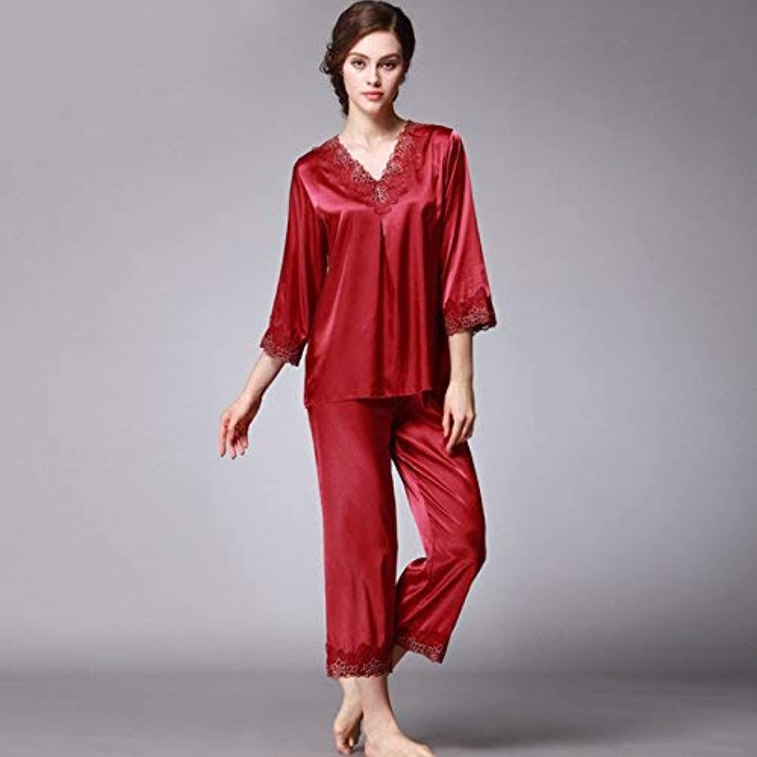 DALAI Pajamas Women's Spring and Autumn Silk Home Wear Long Sleeve Pants Two Piece Set (color   Burgundy, Size   XL) (color   Burgundy, Size   XLarge)