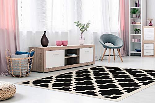 One Couture Arabesque - Alfombra de Pelo Plano, diseño Retro, nórdico, Color Negro, para salón, Comedor, Alfombra, Pasillo, tamaño: 200 x 290 cm
