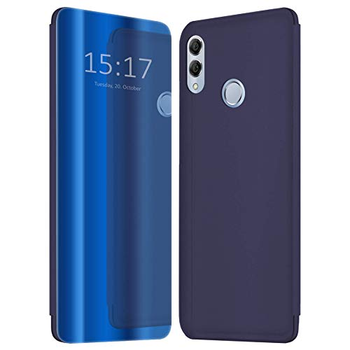 mtb more energy® Cover Clear View für Huawei P Smart 2019, Honor 10 Lite (6.21'') - Blau-Transparent - Aufstellfunktion - Soft Touch Smart Hülle Hülle Tasche