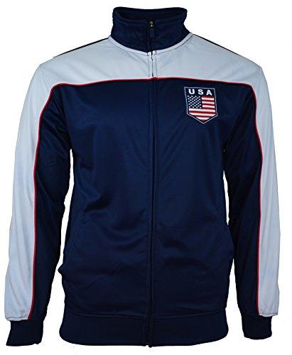 Rhinox Adult USA Soccer Football Track Jacket, Navy - Large