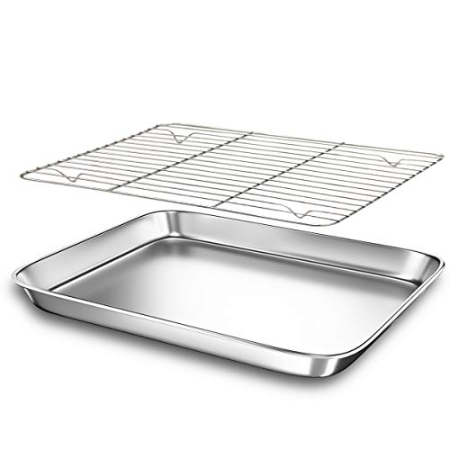 Toaster Oven Tray Baking Pans with Cooling Rack, 12.3 x 9.7 x 1 inch, Stainless Steel Metal Cookie Sheets Set, Sturdy & Heavy Bakeware Sheet Trays Mirror Finish, Dishwasher Safe by EANINNO