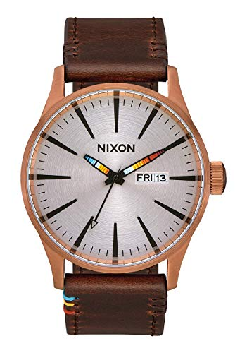 NIXON Sentry Leather A105 - Copper/Brown/Serape - 122M Water Resistant Men's Analog Classic Watch (42mm Watch Face, 23mm Leather Band)