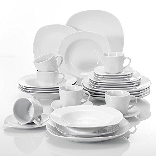 MALACASA, Serie Elisa, Porzellan Tafelservice 30 TLG. Geschirrset mit je 6 Kaffeetassen, 6 Untertassen, 6 Dessertteller, 6 Suppenteller, 6 Essteller