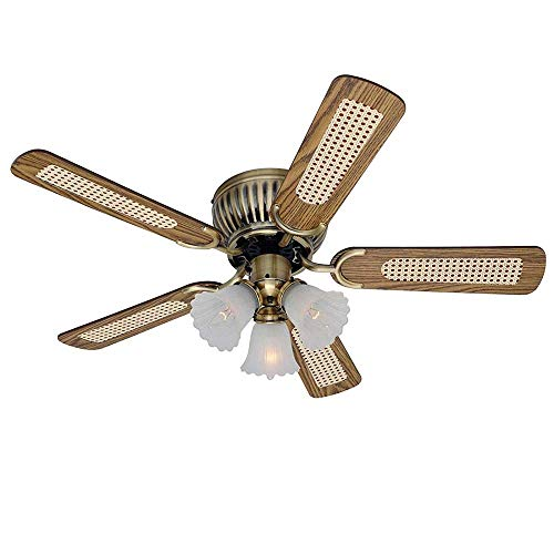 no-branded 3-head Zipper And Reversible Blade In Mahogany And Oak Electric Fan Home Ceiling Fan Chandeliers YFJFJ STORE (Color : Gold)