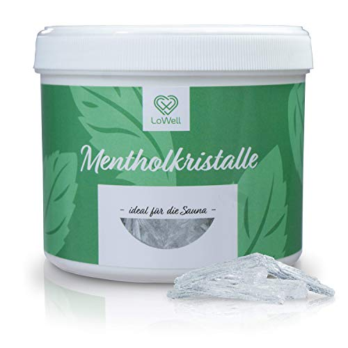 LoWell® - Cristales de mentol de 200g en bote reutilizable - Cristales de mentol premium para sauna - Cristales para sauna de menta
