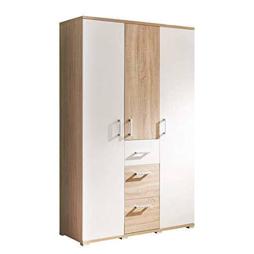 AVANTI TRENDSTORE - Claudio - Armadio spazioso per stanza da bambini, in laminato di quercia Sonoma e bianco, dimensioni: LAP 115x198x53 cm