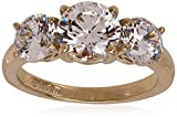 Amazon Collection Yellow-Gold-Plated Sterling Silver Round 3-Stone Ring made with Swarovski Zirconia (3 cttw), Size 8