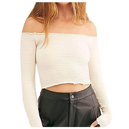 Aujelly Frauen Shirt Mode Lässig Sweatshirt Sexy Trägerlos Langarm Tshirt Tops...