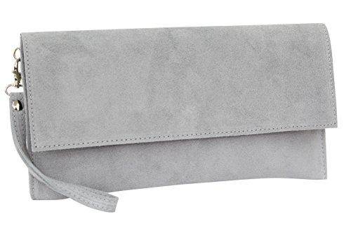 AMBRA Moda Damen Wildleder Clutch Handtasche veloursleder Tasche Handschlaufe WL811 (Grau 2)