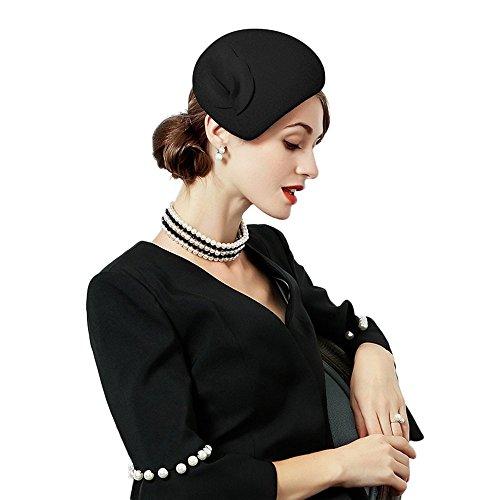 F FADVES Flower Womens Dress Fascinator Wool Felt Fedora French Pillbox Hat Party Wedding Teardrop Beret Black