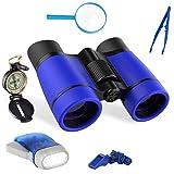 Binoculares niños exploración Kit 6 en 1,Kit Explorador niños, Prismáticos compactos, Brújula niños, Binoculares para niños, Prismáticos Infantiles Regalos para Aventura al Aire Libre Juego