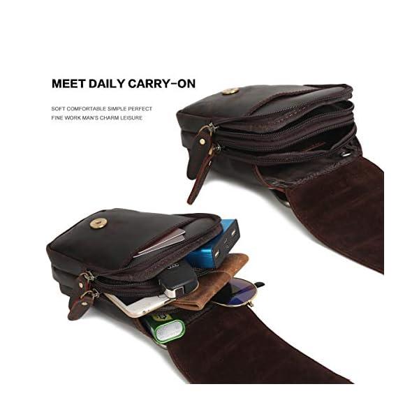 41hSugrJRhL. SS600  - Leathario Bolso Cinturón de Cuero de bandorela para Hombre-Riñonera Piel para Teléfono de 4~6 Pulgada Negro01