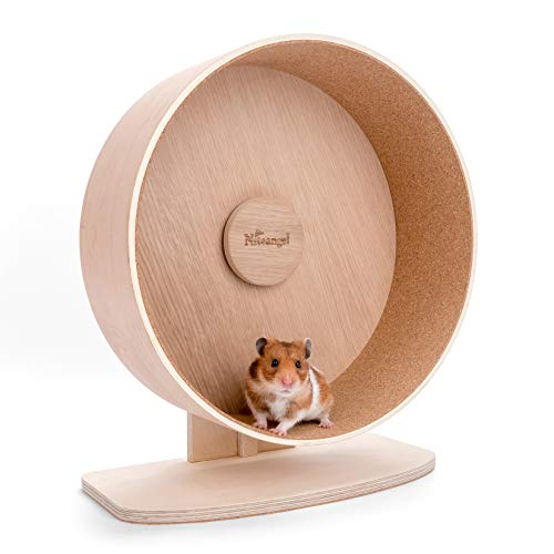 Niteangel Wooden Hamster Exercise Wheel: - Silent Hamster Running Wheel for Hamsters Gerbil Mice and Other Similar-Sized Small Pets (L)