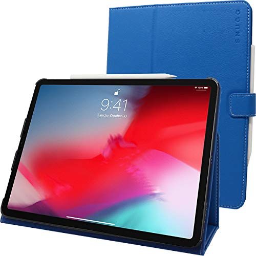 Snugg iPad Pro 2018 12.9' Leather Case, Flip Stand Cover - Electric Blue