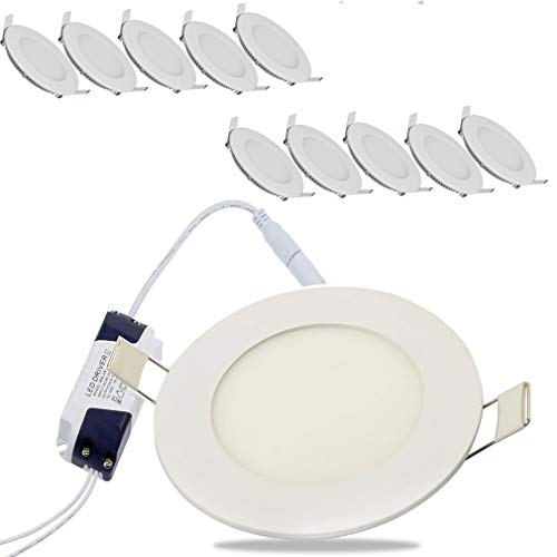10 x 6 W I Ø 120 mm Lámpara de techo Foco LED empotrable y plano (Kit de 10 unidades) Plástico blanco Foco LED para Hogar, Oficina, Iluminación Comercia [Clase de eficiencia energética A++]