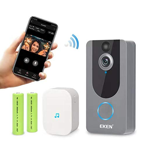 EKEN Smart Wireless WiFi Video Doorbell 1080p Cloud Storage Security Camera with PIR Motion Detection Night Vision Two-Way Talk and Real-time Video (Silver)