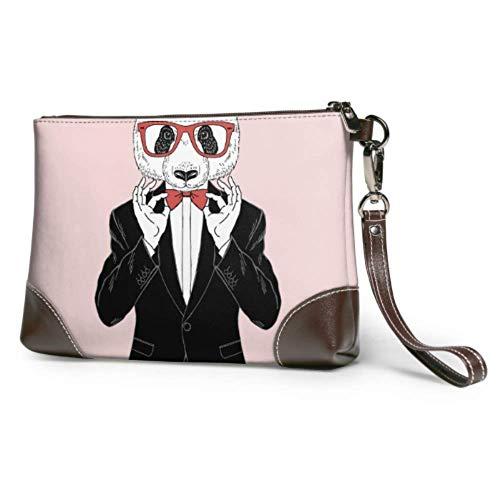 Ahdyr Embrague de cuero suave impermeable único bolso de mano vestido Hipster Panda en gafas Cartera de cuero con cremallera para mujeres y niñas