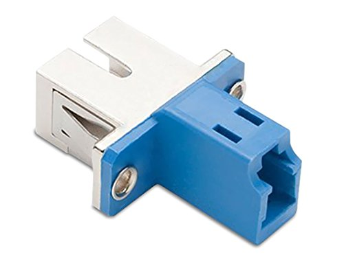 SC Female to LC Female Hybrid Simplex Multimode/Singlemode Optical Adapter, Hybrid Metal/Polymer, Zirconia Sleeve, Flange-Type Adapter