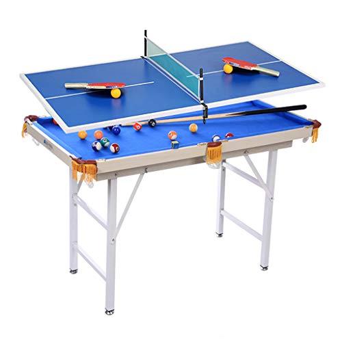 Pool Table MMM@ Billardtisch Mini Kinder Billardtisch Home 1,2 M Klapplift Standardverhältnis Billardtisch Tennis Gepolstertes Wolltuch Leicht zu reinigender Nylonnetzbeutel Langlebig