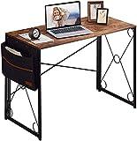 VECELO Klapptisch Schreibtisch Faltbar Computertisch Bürotisch Arbeitstisch Klappbar PC Tisch für Homeoffice (100x50x75cm,Braun+Seitentasche)