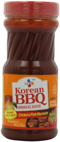 CJ Korean BBQ Sauce, Hot & Spicy (Chicken & Pork), 29.63-Ounce Bottles (Pack of 4)