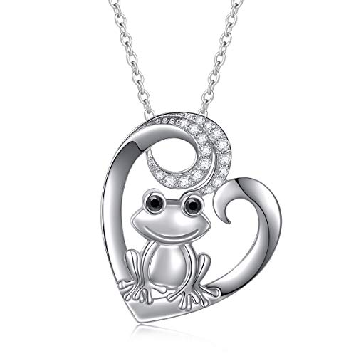 925 Sterling Silber Tier Schmuck Frosch Herz Halskette für Damen Teen Girls 18 Zoll Kette Liebesgeschichte Geschenke (Frosch)