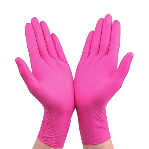 LWGOGM 20pcs / Lot Guanti in Lattice Monouso Pulizia Alimentari Guanti, Universale della Casa Giardino di Pulizia Guanti Robusti, Pulizia della Casa Rubber Glove (Color : Rose Red 20pcs, Size : L)
