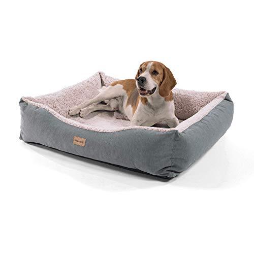 brunolie Emma mittlerer Hundekorb in Braun, waschbar, hygienisch und rutschfest, luftiges Hundebett mit Kissen zum Kuscheln, Größe M (80 x 70 x 20 cm)