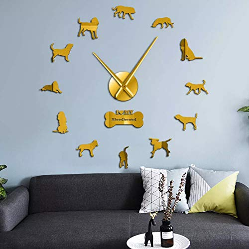 PYIQPL DIY 3D Wanduhr Bloodhound Hunderasse Riesen 3D-Effekt DIY Wanduhr Tier Haustier Hund Figur Wandaufkleber Uhr für Wohnzimmer Quiet Sweep wanduhr Wohnzimmer 47inch (Gold)