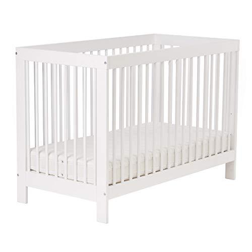 Kinderbett Babybett Classic 140 x 70 cm Umbaubar Höhenverstellbar Entnehmbare Stangen Buche weiß