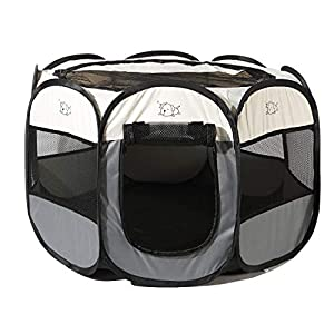 Pet Playpen Portable Foldable Exercise Pen Compatible Small & Large Dog,Kitten,Rabbit,Puppy-Oxford Cage & Kennel Suit Compatible Indoor/Outdoor Use