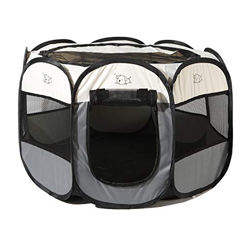 Pop Up Dog Playpen,Removable Zipper Top and Bottom, Foldable Exercise Pen, Outdoor Play Yard Use