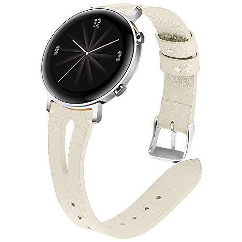 Miimall - Correa de reloj compatible con Huawei Watch GT 2, 42 mm, piel de primera calidad, liberación rápida para mujer, piel de repuesto para Huawei Watch GT2 42mm – Beige