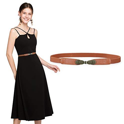 JasGood Gürtel für Kleid Gürtel Damen Stilvoll Gürtel mit Einfacher Stil Einzigartig Design Damengürtel Elegant und Modisch für Kurzer & Langer Rock Kleid 1-Braun 70cm(28