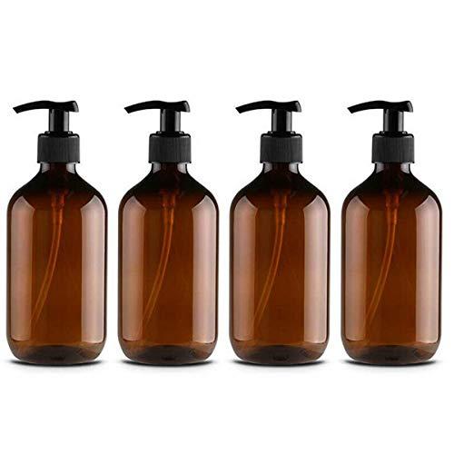 CAILI Pumpspender Flasche, 4 Stück 500ml Seifenspender Lotionspender Leer Flasche mit Schwarz Lotion Pumpe Spender Ideal für Küche Bad