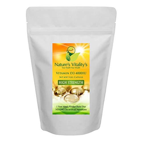 Vitamin D3 4000iu Soft Gel Capsule High Strength 365 Capsule1 Year Supply No GMO