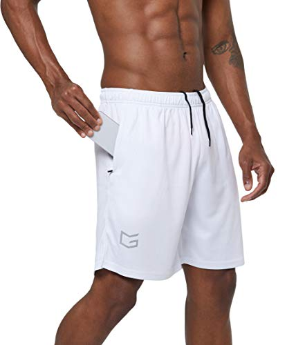 "G Gradual Men's 7"" Workout Running Shorts Quick Dry Lightweight Gym Shorts with Zip Pockets (White, Medium)"