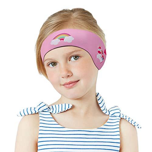 MoKo Schwimmen Stirnband, Neopren Schwimmband Ohrenband Wasserdichtes Kopfband Haarband mit Hohe Elastizität und Klettverschluss Ohrenschutz Band für Kinder Alter 1-2, S Größe - Rosa