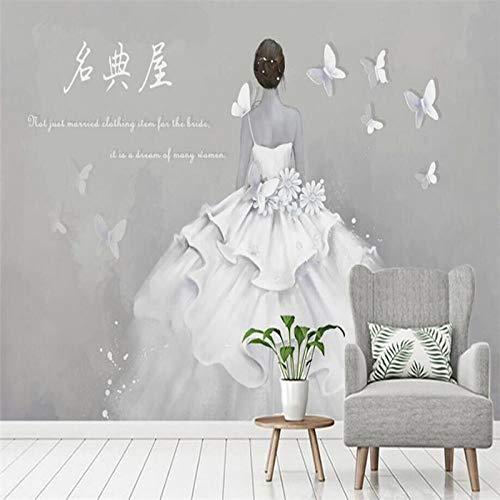 Aangepaste 4D Mural Wallpaper,Retro Eenvoudige Witte Dames Bruidsjurk Grote Maat Art Print Wallpaper Poster Voor Bruiloft Jurk Winkel Gereedschap Wandbehang Mural Decoratie 64in×100in 160cm(H)×250cm(W)