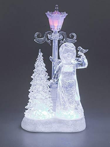 Formano Deko-Engel mit Tanne, Laterne und LED-Licht aus Acryl, 30 cm, weiß