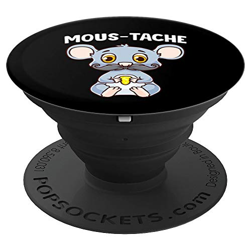 Cute & Funny Mous-Tache Mouse Pun Mustachioed Mousetache PopSockets Grip and Stand for Phones and Tablets