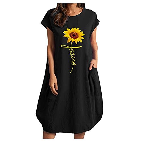 Women's Sports Dresses Tank Tops Women's Summer Casual Sommerkleid Freizeitkleider Dresses for Women Elegant Long Sleeve Only Kleider Damen Blumen Partykleid Kurz Sexy